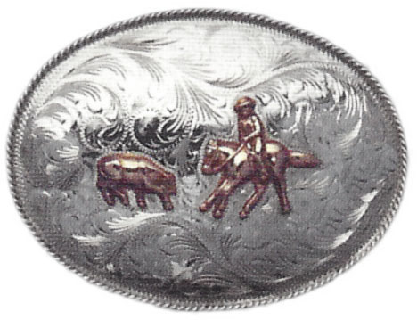 1041 OVAL WESTERN BUCKLE WITH FIGURE