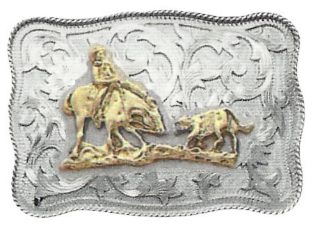 1010 REPOUSSE'  WESTERN BUCKLE W/ROPE EDGE AND FIGURE