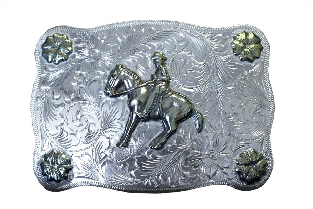1005 WESTERN BUCKLE WITH ROSETTE CORNER ACCENTS
