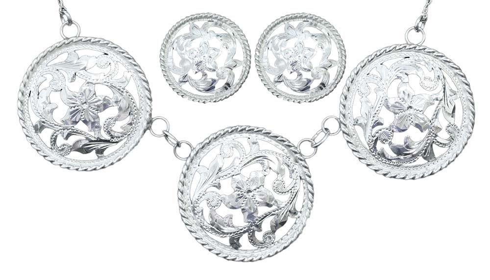 1018-3 - #15 TRIPLE CONCO NECKLACE WITH SGL CONCHO EARRINGS