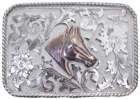 1058 REPOUSSE' WESTERN BUCKLE W/ROPE EDGE