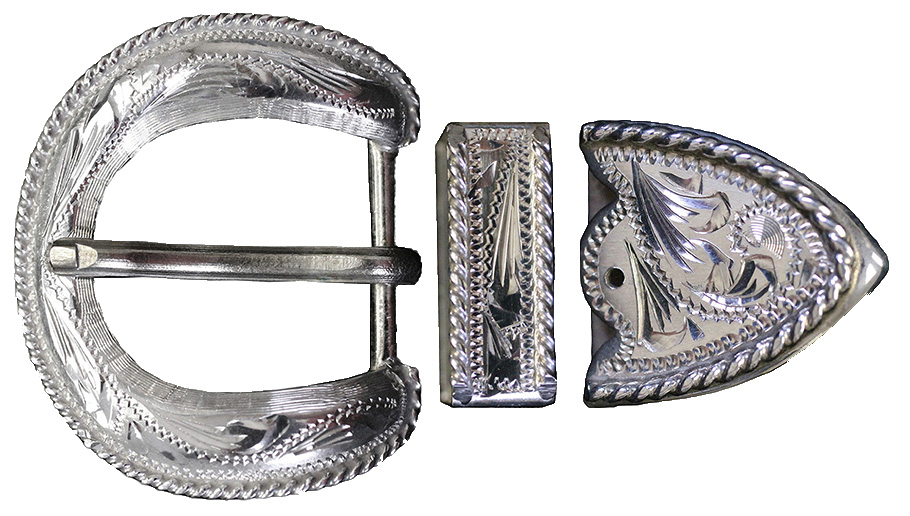 1002 - 3pc BUCKLE W/ROPE EDGE