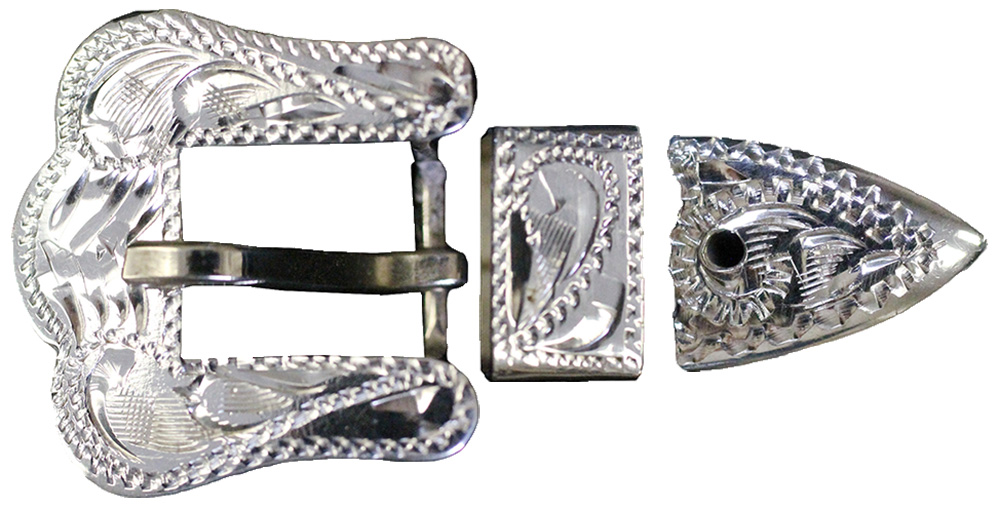 1003 STERLING SILVER HAND-ENGRAVED 3PC BUCKLE