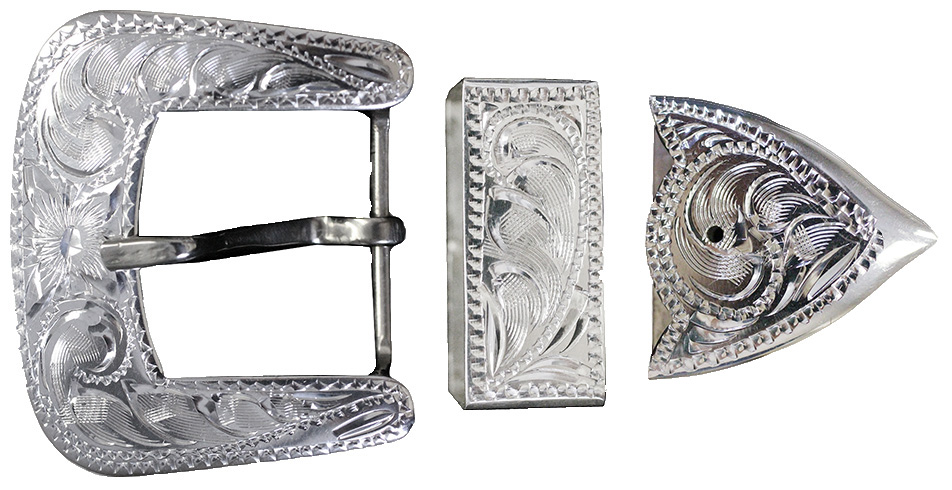 1004 - 3pc STERLING SILVER HAND-ENGRAVED BUCKLE